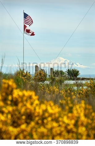 Stars And Stripes And Maple Leaf Flags. An American And Canadian Flag Fly Together In Point Roberts,