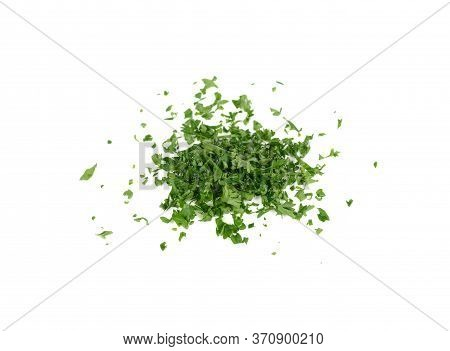 Pile Of Chop Fresh  Parsley On White Background