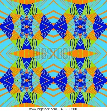 Seamless Abstract Pattern With Decorative Geometric  Elements. Retro Wallpaper Style. Artwork For Cr