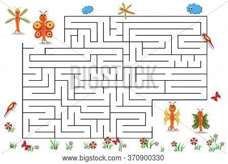 Funny Maze Game For Preschool Children. Illustration Of Logical Education For Children Of Preschool