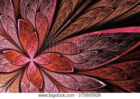 Beautiful Fractal Flower Or Butterfly In Stained Glass Window Style. You Can Use It For Invitations,