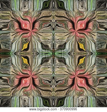 Seamless Pattern From Stylized Flower. Green, Brown. You Can Use It For Stained-glass Window, Tile,