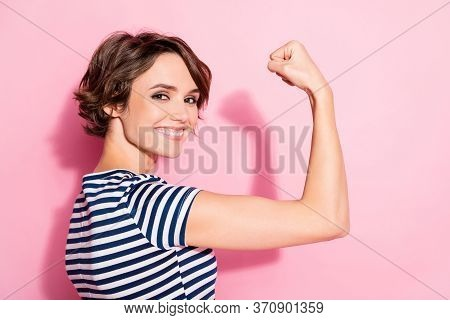 Closeup Profile Photo Of Pretty Lady Good Mood Showing Perfect Biceps After Gym Workout Wear Casual