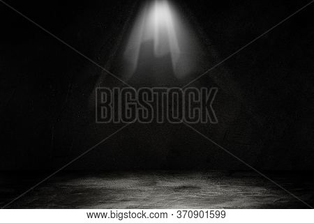 Empty Space Of Studio Dark Room Black Concrete Wall With Spotlight For Product Showing.