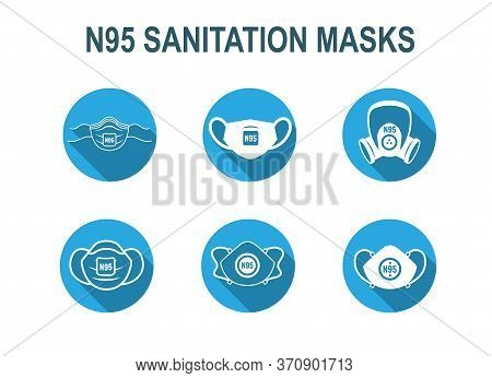 N95 Facemask Ppe Face Mask Icon Set W Respiratory Face Masks