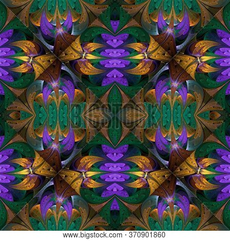 Pattern In Stained-glass Window Style. Purple, Green And Beige Palette. You Can Use It For Invitatio