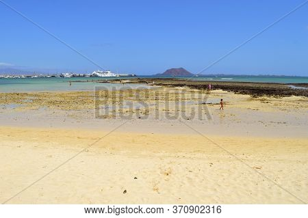 Corralejo Harbour, Fuerteventura, Canary Islands, Spain - September 16, 2018 : Yachts And Ferry In C