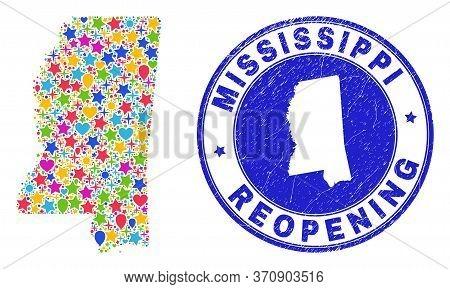 Celebrating Mississippi State Map Collage And Reopening Textured Stamp Seal. Vector Collage Mississi