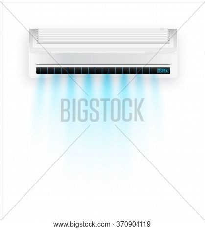 Vector Air Conditioner With Fresh Air Isolated. White Air Condition Isolated On Clear Background In