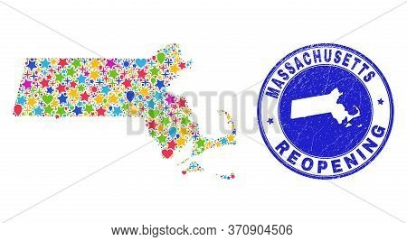 Celebrating Massachusetts State Map Collage And Reopening Rubber Stamp Seal. Vector Collage Massachu