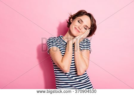 Portrait Of Nice Charming Youth Girl Close Eyes Have Daydreaming Nap After University Education Work