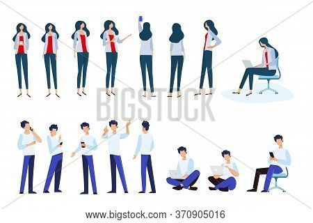 Flat Design Style Illustrations Of Woman And Man In Different Poses, Use Electronic Devices. Vector