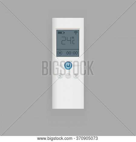 Remote Control Of Air Conditioner Vector Illustration, Flat Realistic Remote Controller Equipment Wi