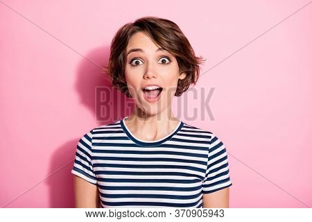 Portrait Of Astonished Cheerful Girl Hear Black Friday Ads Novelty Scream Shout Stare In Camera Wear