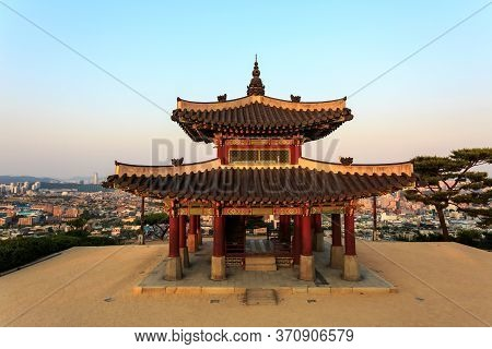 Suwon, South Korea - June 14, 2017: Hwaseong Fortress (seojangdae) Or Suwon Hwaseong Is A Fortificat