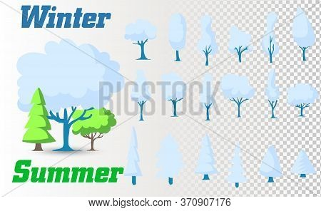 Winter Colorful Cartoon Christmas Tree Vector Set. Set Of Winter Trees On White Background. Apple Tr