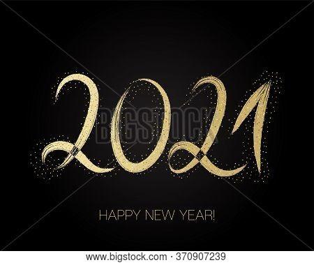 2021 Gold Brushstroke Banner. Isolated Brush Shape 2021. Stylish Happy New Year Typography. Happy Ne