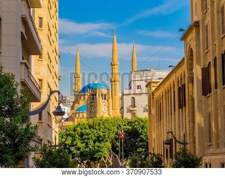 Beirut, Lebanon - View Of Beirut Downtown With The Landmark Mohammad Al-amin Mosque In The Backgroun