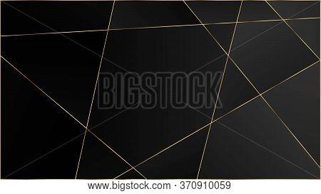 Black Premium Triangular Texture. Silver Vip Rich Geometric Celebration Wallpaper. Gold Lines Polygo