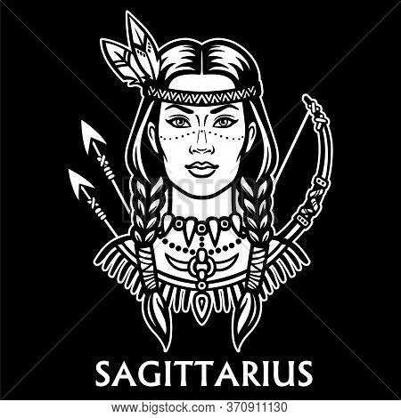 Zodiac Sign Sagittarius. Fantastic Princess, Animation Portrait. Vector Monochrome Illustration Isol
