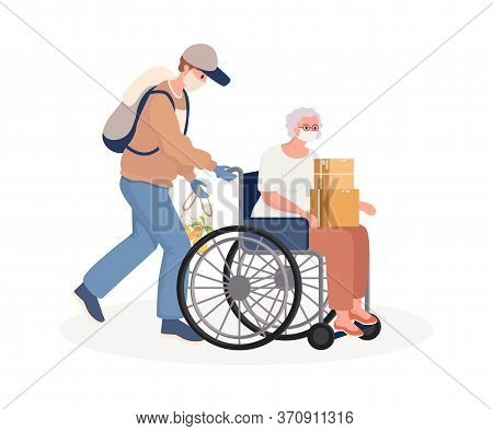 Young Man Supporting And Caring Disabled Old Woman On Wheelchair Vector Flat Cartoon Illustration. V