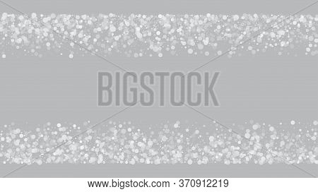 Falling Snow On Gray, Vector. Winter Holidays Storm Background. Falling Snowflakes, Night Sky. Adver