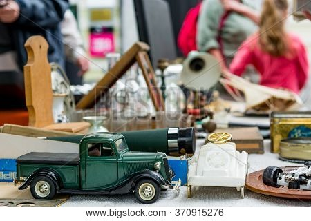Many Various Items Being Sold On Outdoor Flee Market.