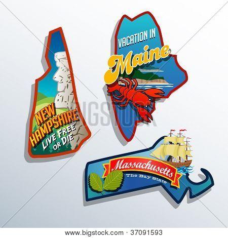 Eastern United States Maine Massachusetts New Hampshire vector illustrations designs
