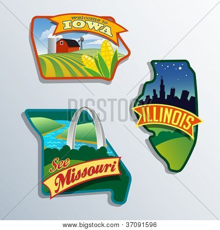 Midwest United States Illinois Missouri Iowa vector illustrations designs