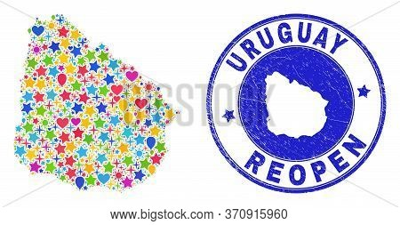 Celebrating Uruguay Map Mosaic And Reopening Unclean Watermark. Vector Mosaic Uruguay Map Is Formed