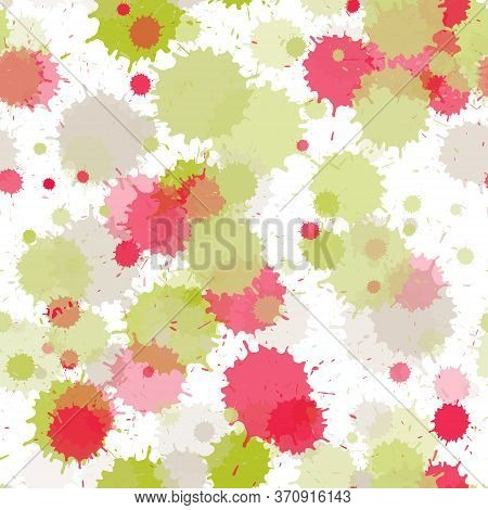 Watercolor Paint Transparent Stains Vector Seamless Grunge Background. Sprawling Ink Splatter, Spray