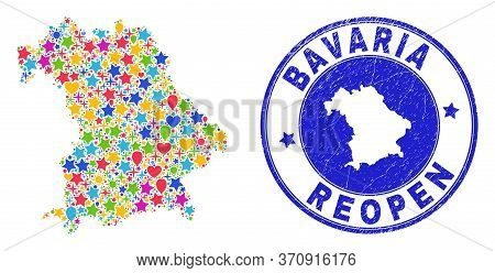 Celebrating Bavaria Land Map Mosaic And Reopening Corroded Seal. Vector Mosaic Bavaria Land Map Is C