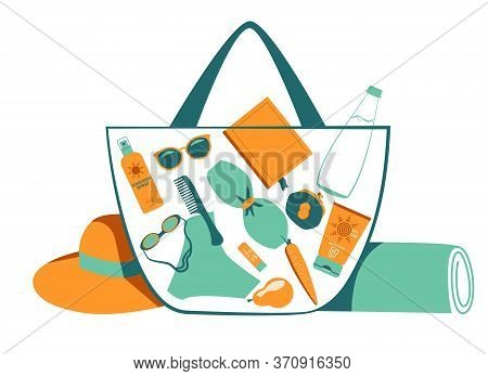 Things That Are Needed On The Beach In Summer, At A Resort, On Vacation. Beach Bag, Sunscreen, Hat,