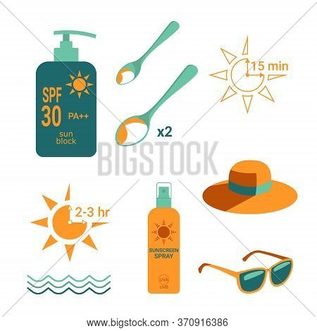 Sun Protection. Recommended Amount Of Sunscreen. Time Intervals For Applying. Bottles With Sunscreen
