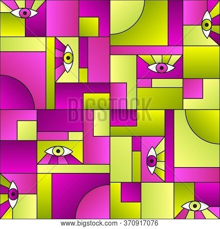 Stylish Pattern With Eyes In Geometric Shapes Grid Mondrian Avant Garde Fashion Textile Print. Patch