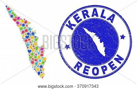Celebrating Kerala State Map Collage And Reopening Unclean Watermark. Vector Collage Kerala State Ma