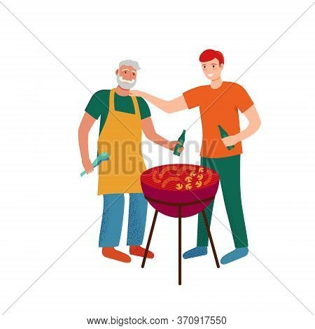 Bbq Grill Party. Men Make Barbecue In Backyard. Father And Son Laughing Outdoors, Weekend Meeting .