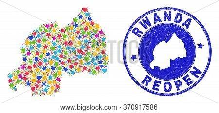Celebrating Rwanda Map Mosaic And Reopening Rubber Seal. Vector Mosaic Rwanda Map Is Composed From S