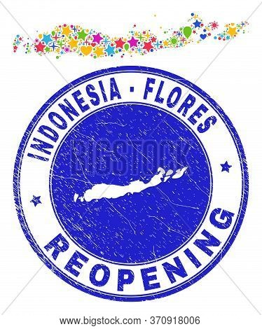 Celebrating Flores Islands Of Indonesia Map Collage And Reopening Rubber Seal. Vector Collage Flores