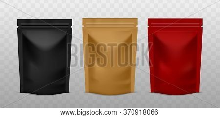 Plastic Sachet Pouch. Coffee Zip Package Golden, Black And Red Color, Foil Standing Bag Advertising