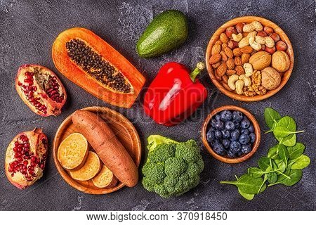 Anti-aging Food - Healthy Fruits, Vegetables, Nuts. Top View.