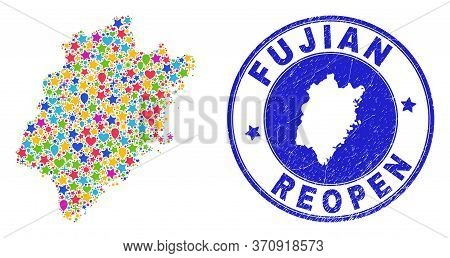 Celebrating Fujian Province Map Collage And Reopening Scratched Watermark. Vector Collage Fujian Pro