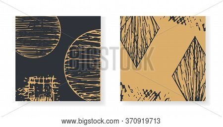 Set Of Elegant Black And Gold Square Greeting Cards With Round And Rhombus Textured Elements. Backgr