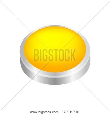 Button Circle Shape Yellow For Buttons Games Play Isolated On White, Yellow Modern Buttons And Conve