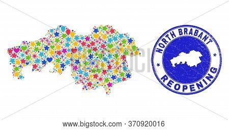 Celebrating North Brabant Province Map Mosaic And Reopening Rubber Stamp Seal. Vector Mosaic North B