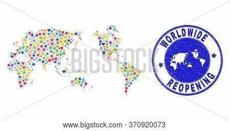 Celebrating Worldwide Map Mosaic And Reopening Grunge Watermark. Vector Collage Worldwide Map Is Des