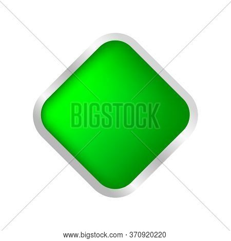 Button Square Shape Green For Buttons Games Play Isolated On White, Green Modern 3d Buttons Simple A