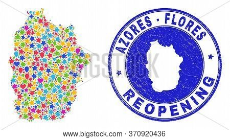 Celebrating Flores Island Of Azores Map Mosaic And Reopening Rubber Seal. Vector Mosaic Flores Islan
