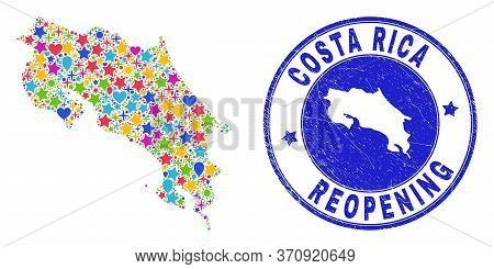 Celebrating Costa Rica Map Mosaic And Reopening Scratched Seal. Vector Mosaic Costa Rica Map Is Crea