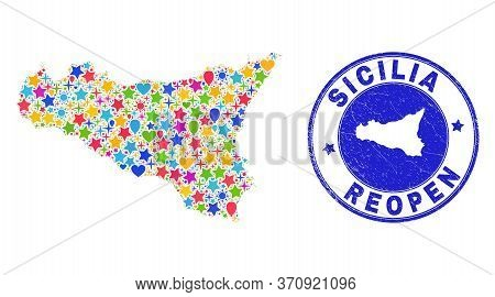 Celebrating Sicilia Map Collage And Reopening Unclean Seal. Vector Collage Sicilia Map Is Composed W